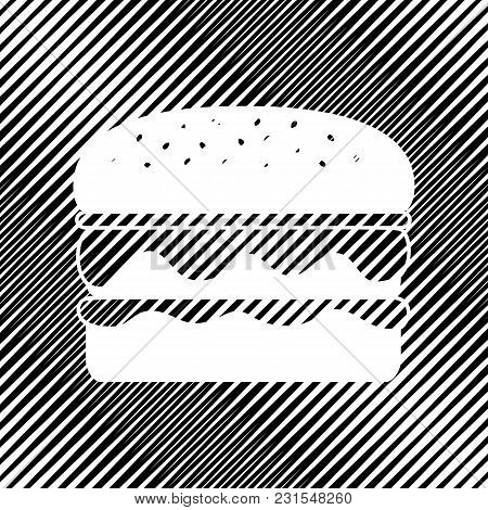 Burger Simple Sign. Vector. Icon. Hole In Moire Background.