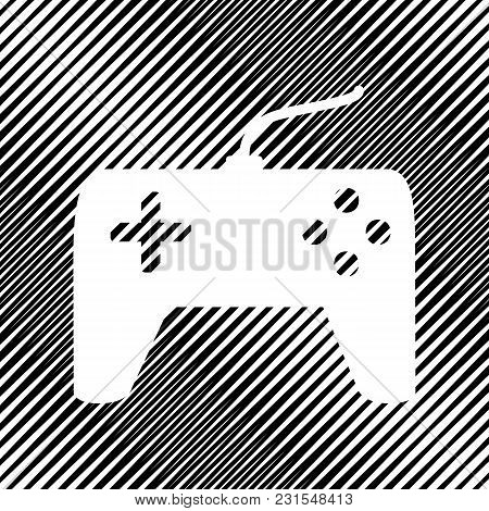 Joystick Simple Sign. Vector. Icon. Hole In Moire Background.