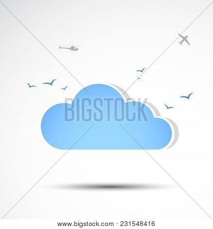 Simplistic Blue Cloud Icon. Minimalistic Vector Illustration