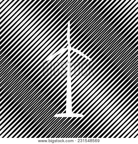 Wind Turbine Logo Or Sign. Vector. Icon. Hole In Moire Background.