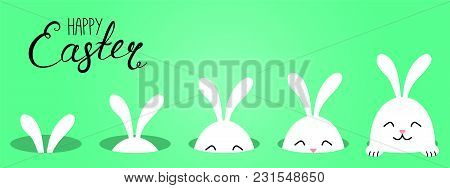 Hand Drawn Vector Illustration With Cute Cartoon Bunny Looking From A Hole, Happy Easter Text. Isola