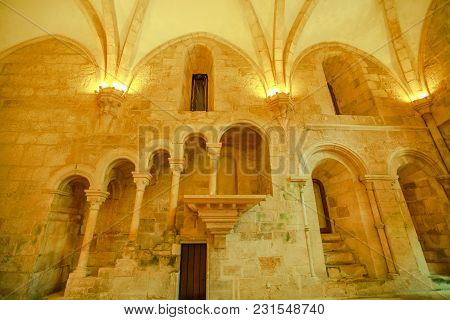 Alcobaca, Portugal - August 15, 2017: Close-up Of The Pulpit, Accessed Through An Arched Staircase,