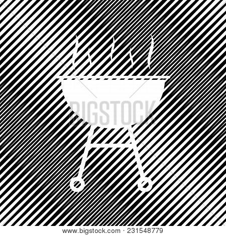 Barbecue Simple Sign. Vector. Icon. Hole In Moire Background.