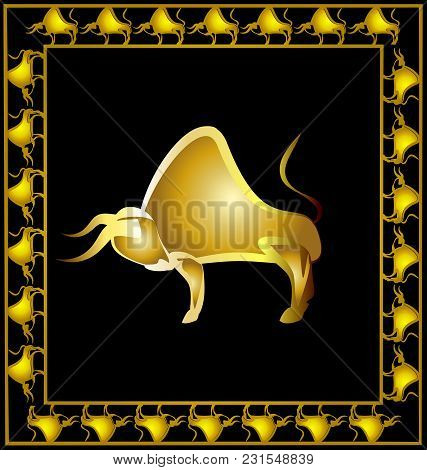 Dark Background With Golden Frame And Abstract Image Of Golden Bull