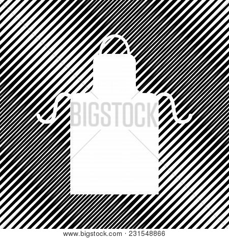 Apron Simple Sign. Vector. Icon. Hole In Moire Background.
