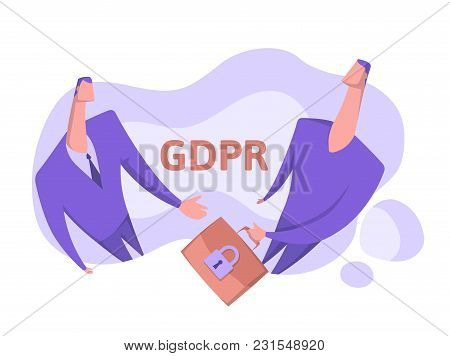 Gdpr, Concept Vector Illustration, Isolated On White. General Data Protection Regulation. The Protec