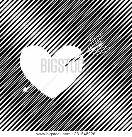 Arrow Heart Sign. Vector. Icon. Hole In Moire Background.