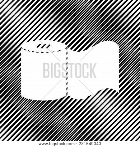 Toilet Paper Sign. Vector. Icon. Hole In Moire Background.