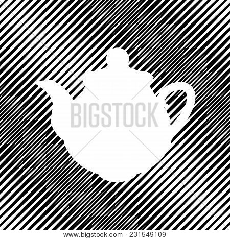 Tea Maker Kitchen Sign. Vector. Icon. Hole In Moire Background.