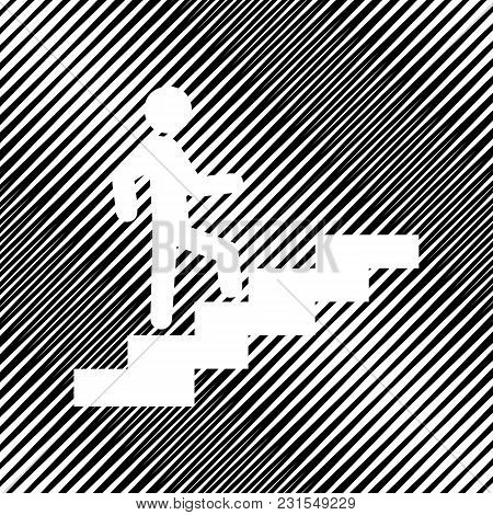 Man On Stairs Going Up. Vector. Icon. Hole In Moire Background.