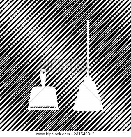 Dustpan Sign. Scoop For Cleaning Garbage Housework Dustpan Equipment. Vector. Icon. Hole In Moire Ba