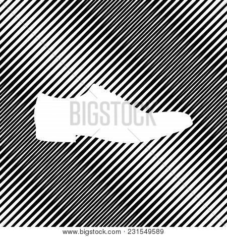 Men Shoes Sign. Vector. Icon. Hole In Moire Background.