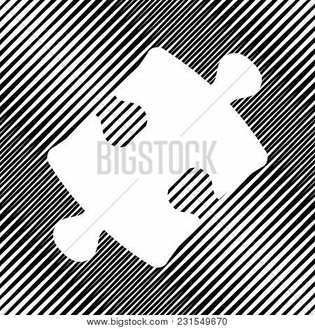 Puzzle Piece Sign. Vector. Icon. Hole In Moire Background.
