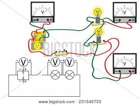 An electrical circuit consisting of consecutively connected electric power consumers, voltmeters for measuring the voltage at different sections of the circuit. poster