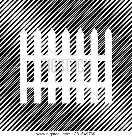Fence Simple Sign. Vector. Icon. Hole In Moire Background.