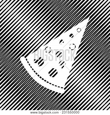 Pizza Simple Sign. Vector. Icon. Hole In Moire Background.