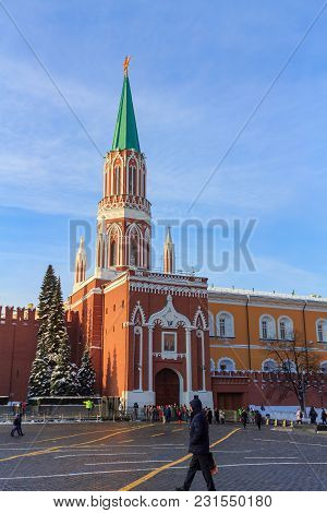 Moscow, Russia - February 14, 2018: Historical Landmark Nikolskaya Tower On The Red Square In Moscow