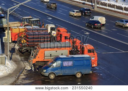 Moscow, Russia - February 14, 2018: Municipal Special Trucks For Cleaning City Streets On A Parking