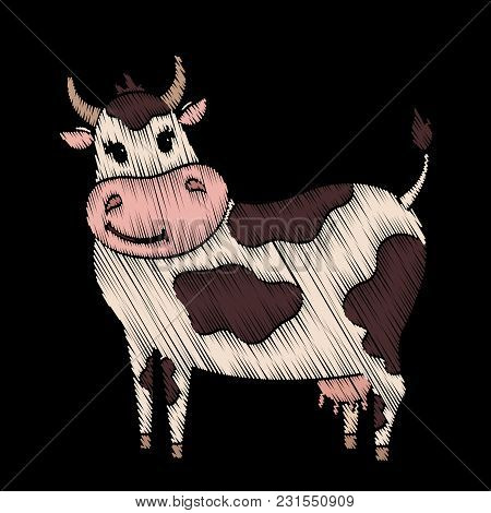 Cute Embroidered Cow For Kids Fashion Design. Decorative Element For Patches, Stickers, Badges, Embr