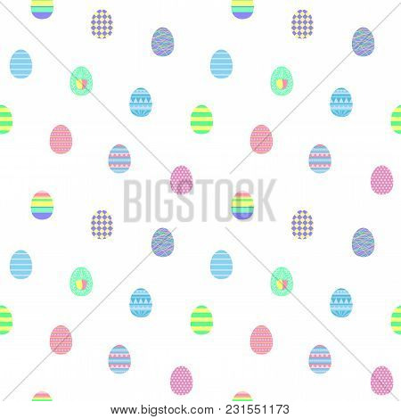 Hand Drawn Seamless Vector Pattern With Different Easter Eggs, On A White Background. Design Concept