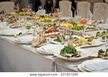 Delicious Dishes On The Table In The Restaurant