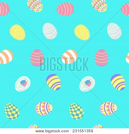 Hand Drawn Seamless Vector Pattern With Different Easter Eggs, On A Blue Background. Design Concept