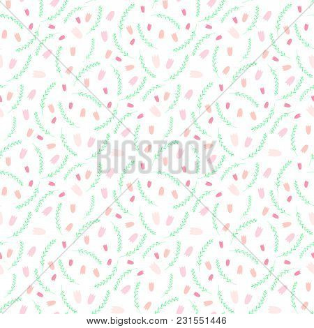 Hand Drawn Seamless Vector Pattern With Pink Tulips And Green Grass, On A White Background. Design C