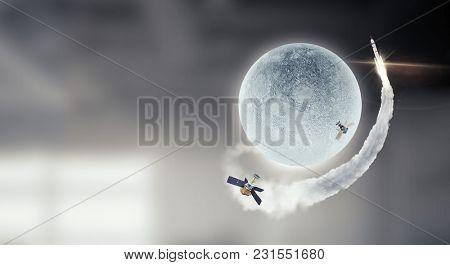 Space exploration concept. Mixed media