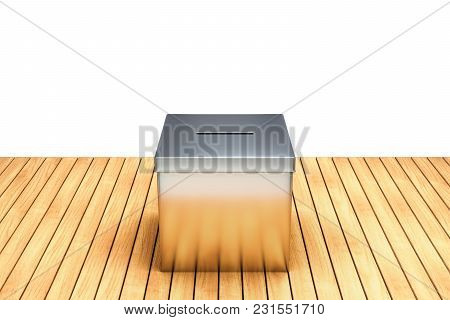 3d Rendering Of Metal Chrome Election Box On Wooden Table Isolated On White Background With Clipping