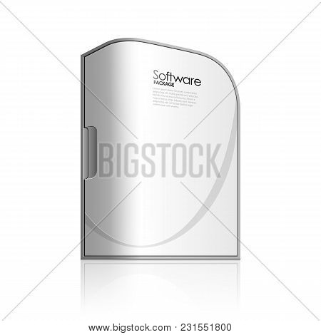 White Software Box With Rounded Corners . Eps 10