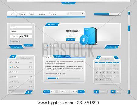 Web Ui Controls Elements Gray And Blue On Light Background: Navigation Bar, Buttons,  Menu, Video Pl