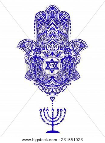 Traditional Jewish Sacred Amulet And Religious Symbols In National Jewish Colors - Hamsa Or Hand Of