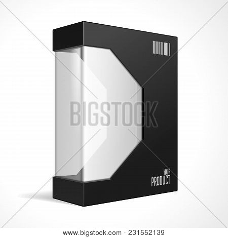 Modern Black Software Package Mock Up Box With Rounded Corners. With Dvd Or Cd Disk For Your Product