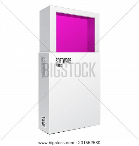 Opened White Modern Software Package Box Pink Inside For Dvd, Cd Disk Or Other Your Product Eps10