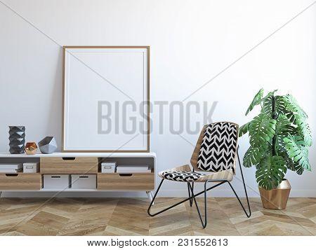 White Scandinavian Tropical Interior With Chair, Dresser, Plant, Frame. 3d Render Illustration Mock
