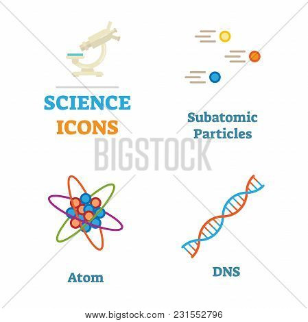 Science Icons Vector Illustration Set With Subatomic Particles, Atom And Dna. Flat And Clean Design.