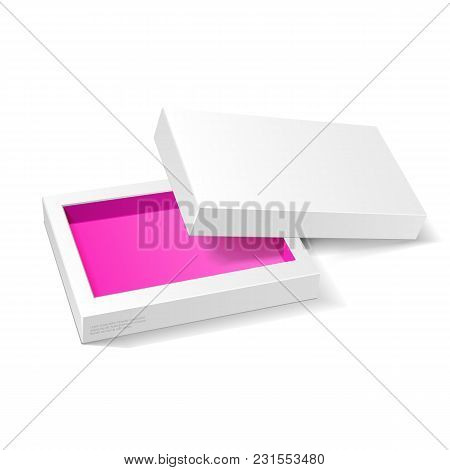 Opened White Pink Violet Cardboard Package Mock Up Box. Gift Candy. On White Background Isolated. Re
