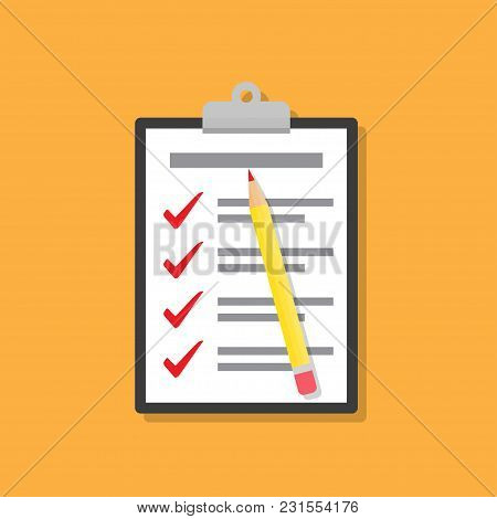 Checklist On Clipboard With Pencil In A Flat Design.
