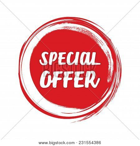 Special Offer Grunge Style Red Colored On White Background.