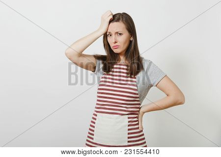 Young Attractive Sad Upset Tired Brunette Caucasian Housewife In Striped Apron Isolated On White Bac