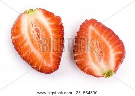 Strawberries Isolated On White Background In A Cut