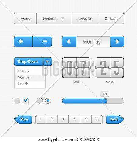 Clean Light Blue User Interface Controls. Web Elements. Website, Software Ui. Eps 10