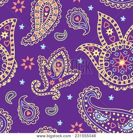 Colorful Seamless Paisley Pattern On The Purple Background. Vector Illustration.