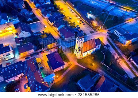 Town Of Krizevci Church And Square Aerial Night View, Prigorje Region Of Croatia