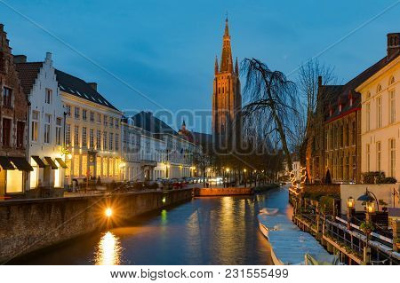 Twilight View Of Historic Medieval Centre Of Bruges Or Brugge, Belgium In Cristmas Decorations