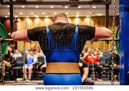 Back Powerlifter In Belt Approach Squat In Competition Powerlifting