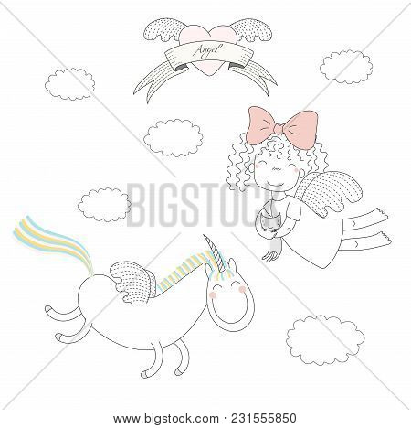 Hand Drawn Vector Illustration Of A Cute Angel Girl, Holding Cat, And Unicorn With Wings, Flying, Wi