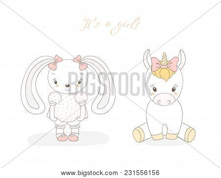 Hand Drawn Vector Illustration Of Cute Animal Baby Girl: Smiling Rabbit And Unicorn With Ribbons, Te
