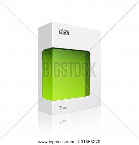 White Modern Software Product Package Box With Green Window For Dvd Or Cd Disk Eps10
