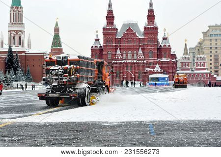 Moscow. Russia. 03.15.2018. Clearing The Snowy Streets With Utility Vehicles. Red Square After A Hea